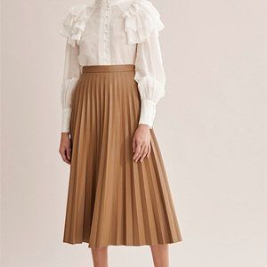 7 for All Mankind Faux Leather Brown Midi Skirt XS